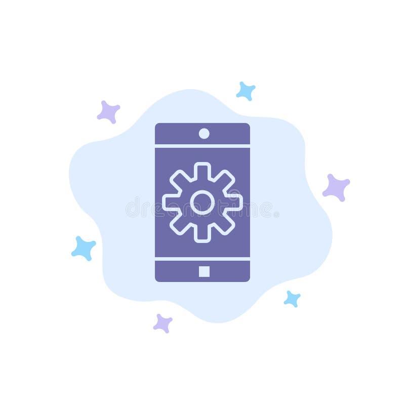Anwendung, Mobile, bewegliche Anwendung, blaue Ikone auf abstraktem Wolken-Hintergrund einstellend lizenzfreie abbildung