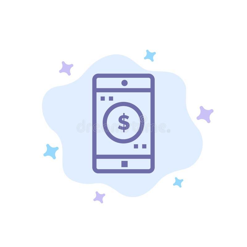 Anwendung, Mobile, bewegliche Anwendung, Dollar-blaue Ikone auf abstraktem Wolken-Hintergrund lizenzfreie abbildung