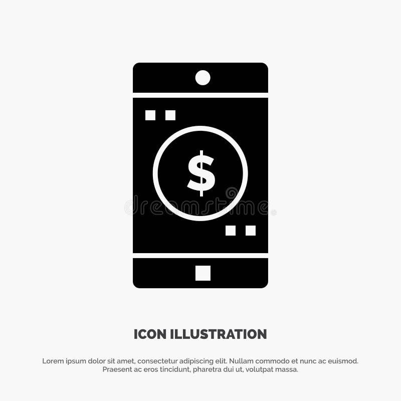 Anwendung, Mobile, bewegliche Anwendung, Dollar fester Glyph-Ikonenvektor lizenzfreie abbildung