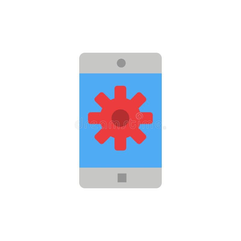 Anwendung, Mobile, bewegliche Anwendung, flache Farbikone einstellend Vektorikonen-Fahne Schablone vektor abbildung