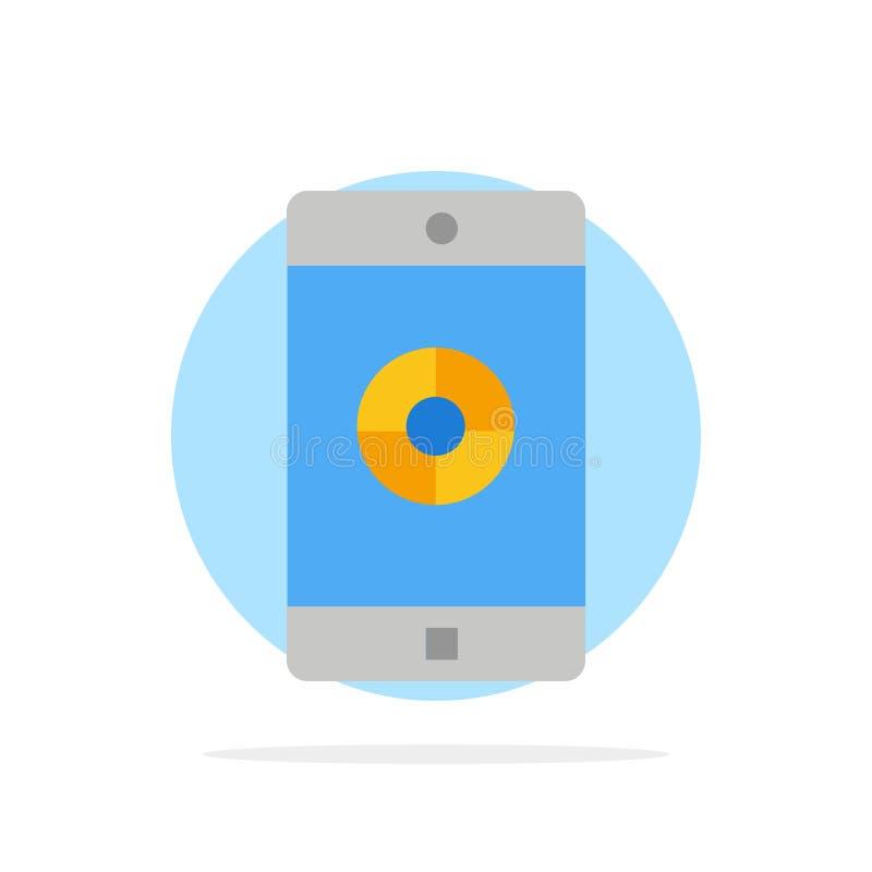 Anwendung, Mobile, bewegliche Anwendung, flache Ikone Farbe des Ziel-Zusammenfassungs-Kreis-Hintergrundes lizenzfreie abbildung