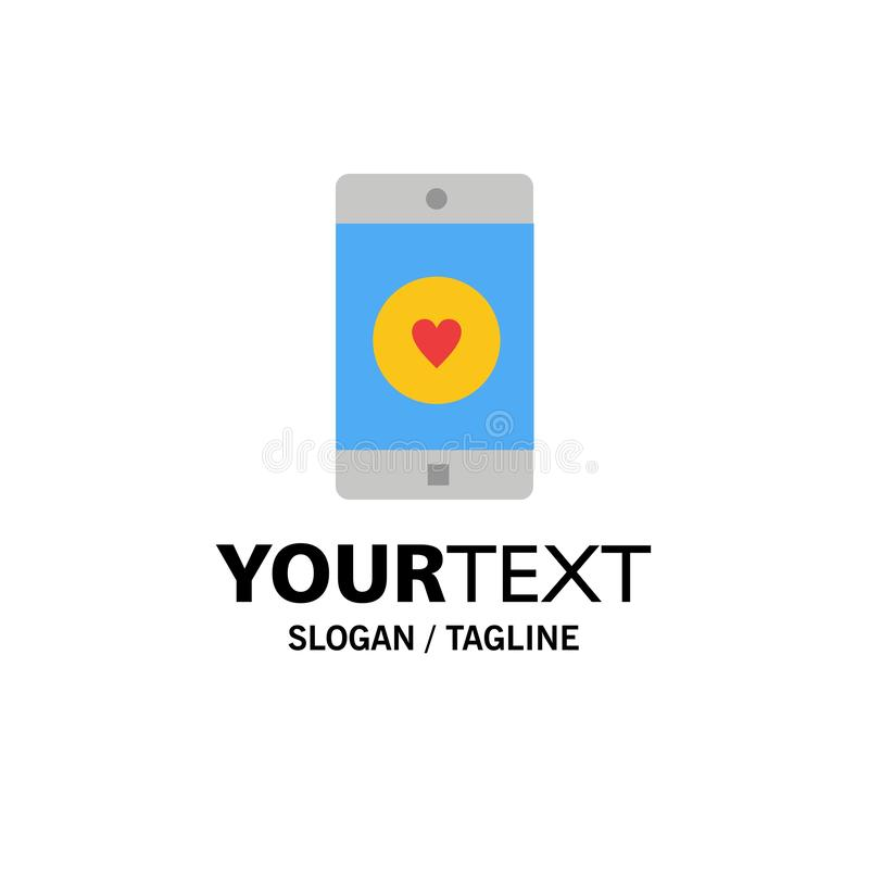 Anwendung, Mobile, bewegliche Anwendung, Gleiches, Herz-Geschäft Logo Template flache Farbe stock abbildung