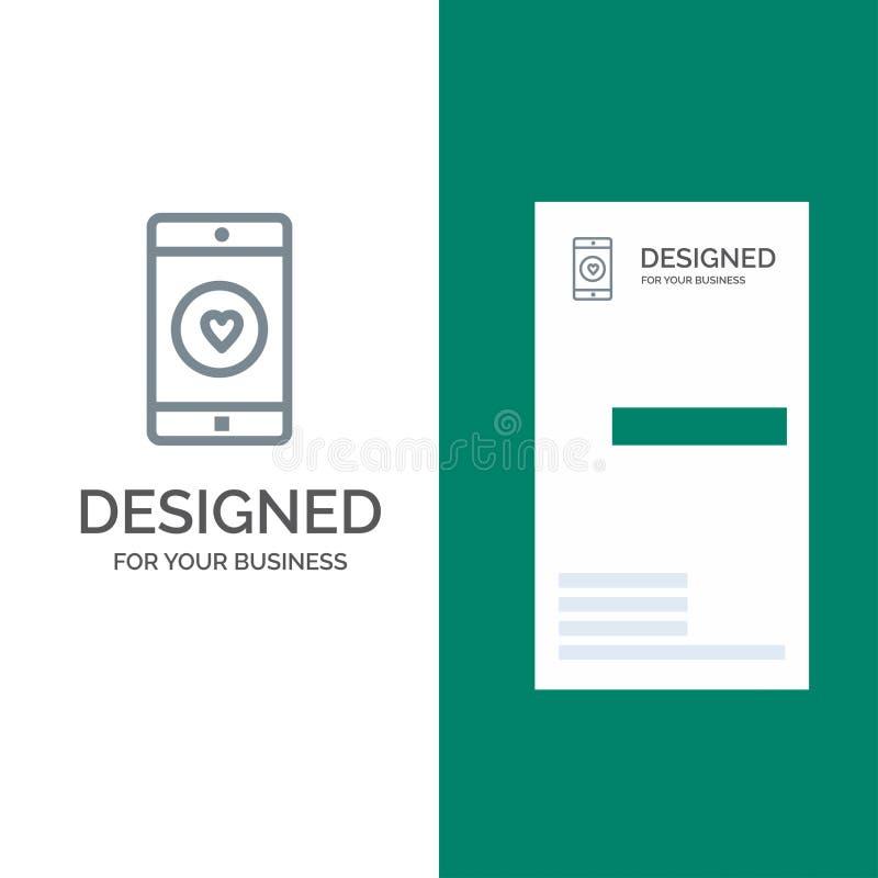 Anwendung, Mobile, bewegliche Anwendung, Gleiches, Herz Grey Logo Design und Visitenkarte-Schablone vektor abbildung