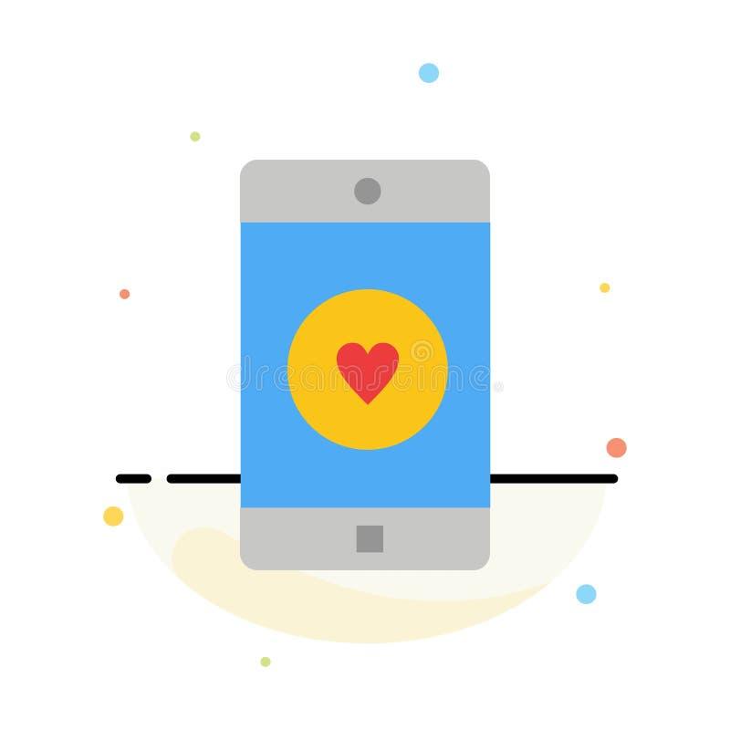 Anwendung, Mobile, bewegliche Anwendung, Gleiches, Herz-Zusammenfassungs-flache Farbikonen-Schablone vektor abbildung