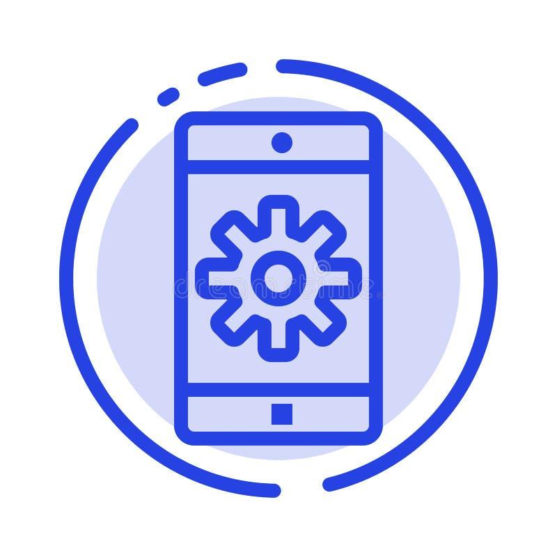 Anwendung, Mobile, bewegliche Anwendung, Linie Ikone einstellend der blauen punktierten Linie stock abbildung
