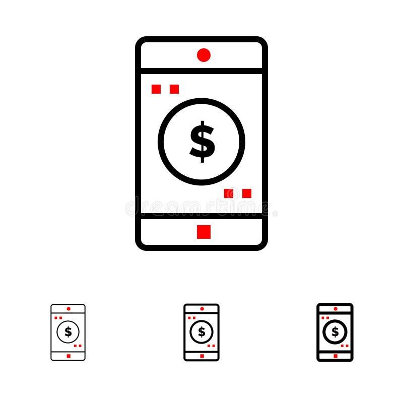 Anwendung, Mobile, bewegliche mutige und dünne schwarze Linie Ikonensatz der Anwendung, des Dollars vektor abbildung