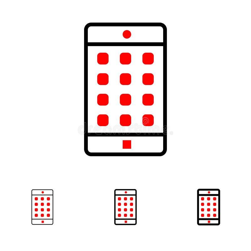 Anwendung, Mobile, bewegliche mutige und dünne schwarze Linie Ikonensatz der Anwendung, des Passwortes vektor abbildung