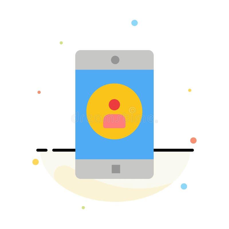 Anwendung, Mobile, bewegliche Anwendung, Profil-Zusammenfassungs-flache Farbikonen-Schablone lizenzfreie abbildung