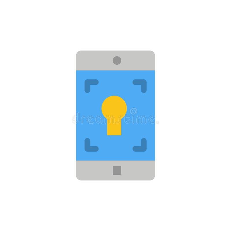 Anwendung, Mobile, bewegliche Anwendung, Schirm-flache Farbikone Vektorikonen-Fahne Schablone vektor abbildung