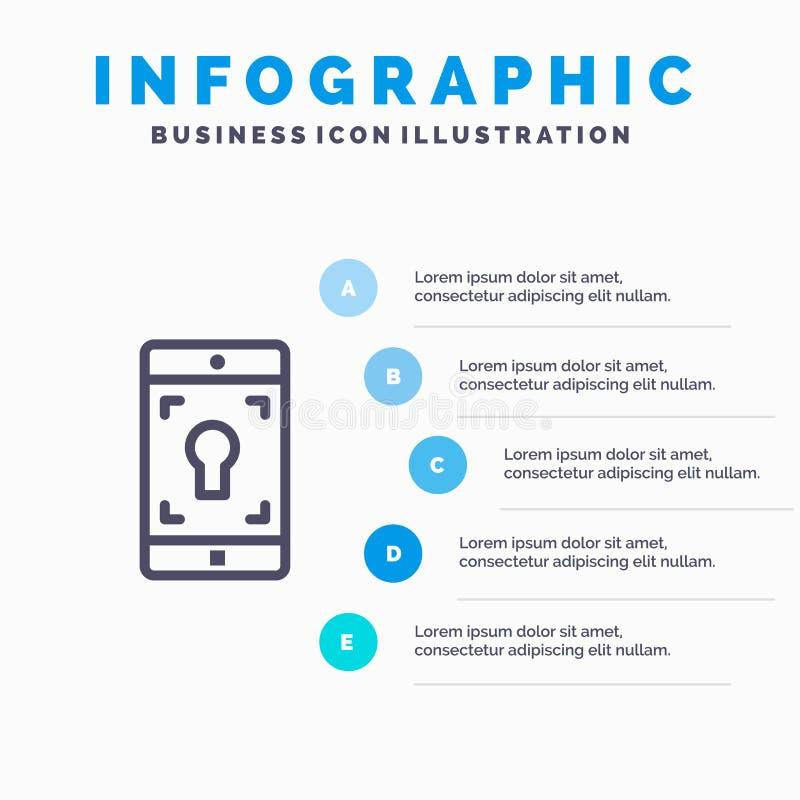 Anwendung, Mobile, bewegliche Anwendung, Schirm-Linie Ikone mit Hintergrund infographics Darstellung mit 5 Schritten lizenzfreie abbildung