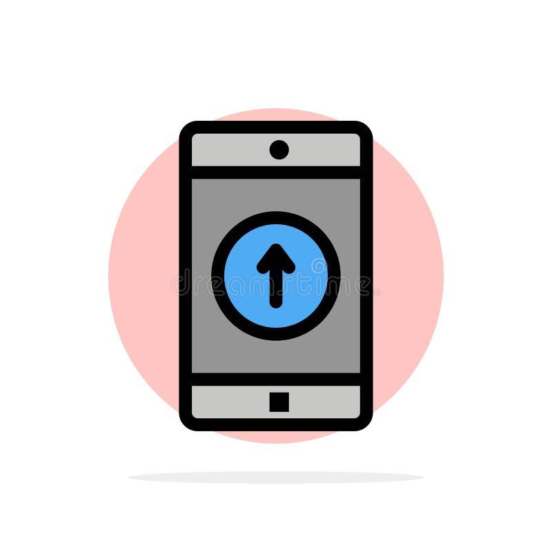 Anwendung, Mobile, bewegliche Anwendung, Smartphone, abstraktem Kreis-Hintergrund flache Farbeikone geschickt lizenzfreie abbildung