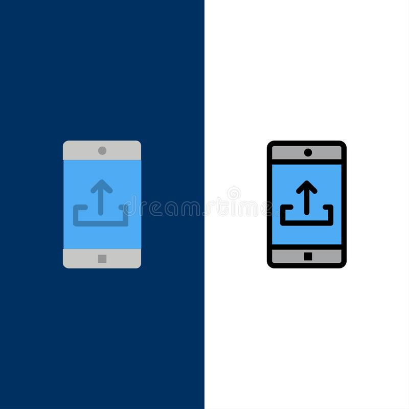 Anwendung, Mobile, bewegliche Anwendung, Smartphone, Antriebskraft-Ikonen Ebene und Linie gefüllte Ikone stellten Vektor-blauen H lizenzfreie abbildung