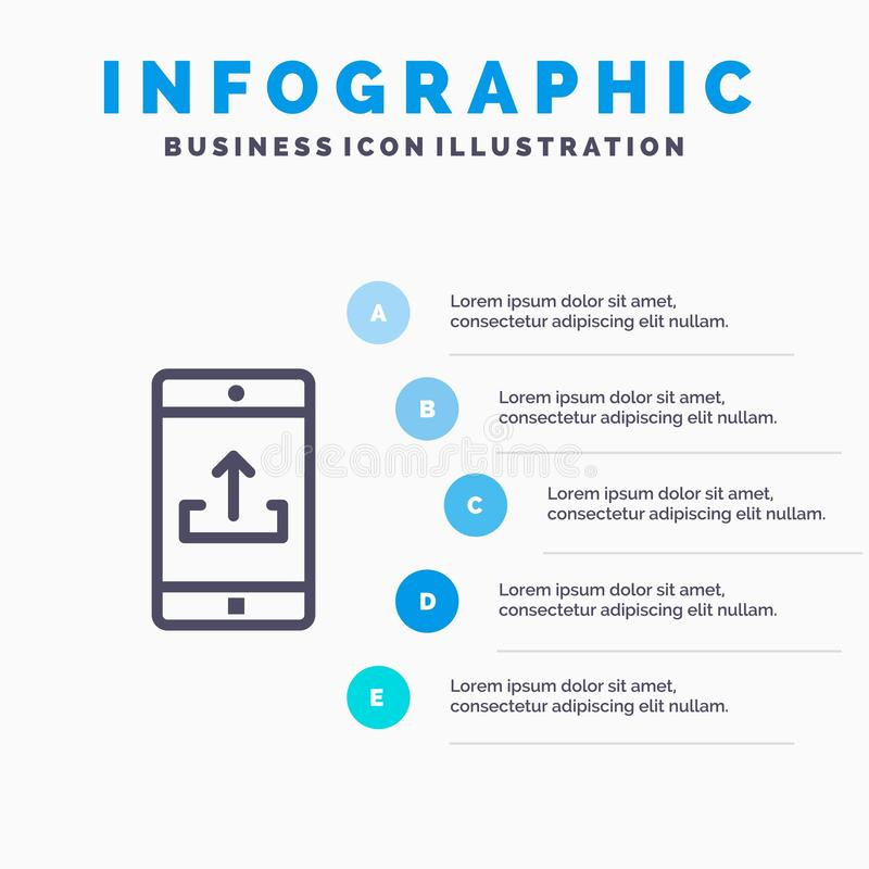 Anwendung, Mobile, bewegliche Anwendung, Smartphone, Antriebskraft-Linie Ikone mit Hintergrund infographics Darstellung mit 5 Sch vektor abbildung