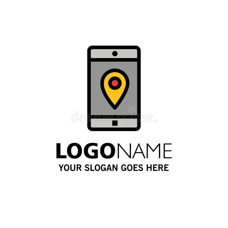 Anwendung, Mobile, bewegliche Anwendung, Standort, Karten-Geschäft Logo Template flache Farbe lizenzfreie abbildung