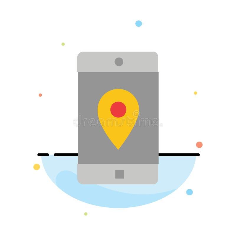 Anwendung, Mobile, bewegliche Anwendung, Standort, Karten-Zusammenfassungs-flache Farbikonen-Schablone stock abbildung