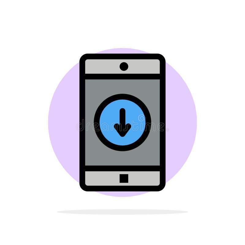 Anwendung, Mobile, bewegliche Anwendung unten flache Ikone Farbe des Pfeil-Zusammenfassungs-Kreis-Hintergrundes vektor abbildung