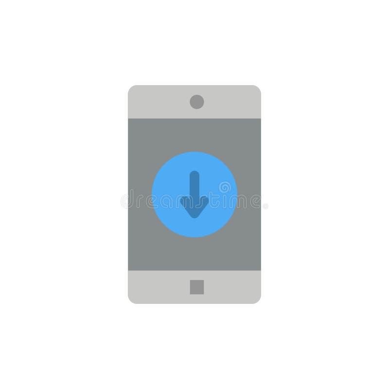 Anwendung, Mobile, bewegliche Anwendung unten Pfeil-flache Farbikone Vektorikonen-Fahne Schablone stock abbildung