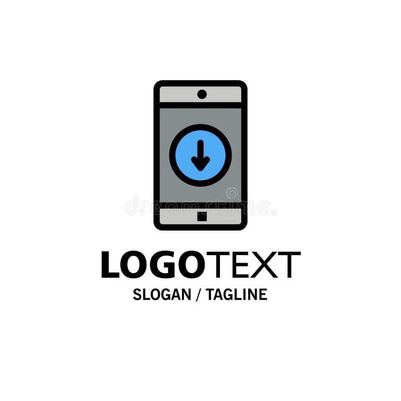 Anwendung, Mobile, bewegliche Anwendung unten Pfeil-Geschäft Logo Template flache Farbe vektor abbildung