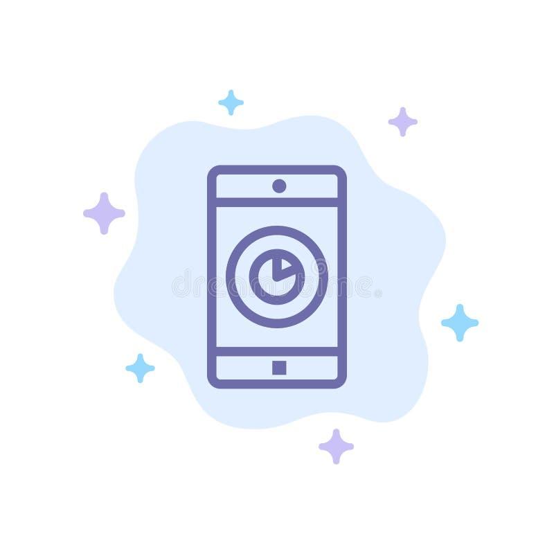 Anwendung, Mobile, bewegliche Anwendung, Zeit-blaue Ikone auf abstraktem Wolken-Hintergrund lizenzfreie abbildung