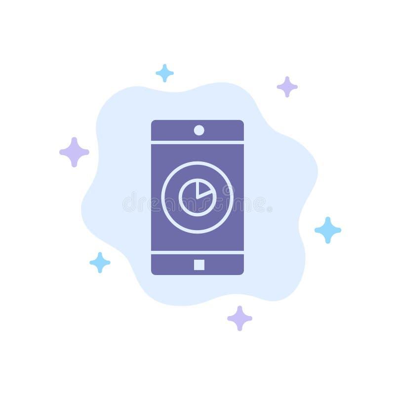 Anwendung, Mobile, bewegliche Anwendung, Zeit-blaue Ikone auf abstraktem Wolken-Hintergrund vektor abbildung