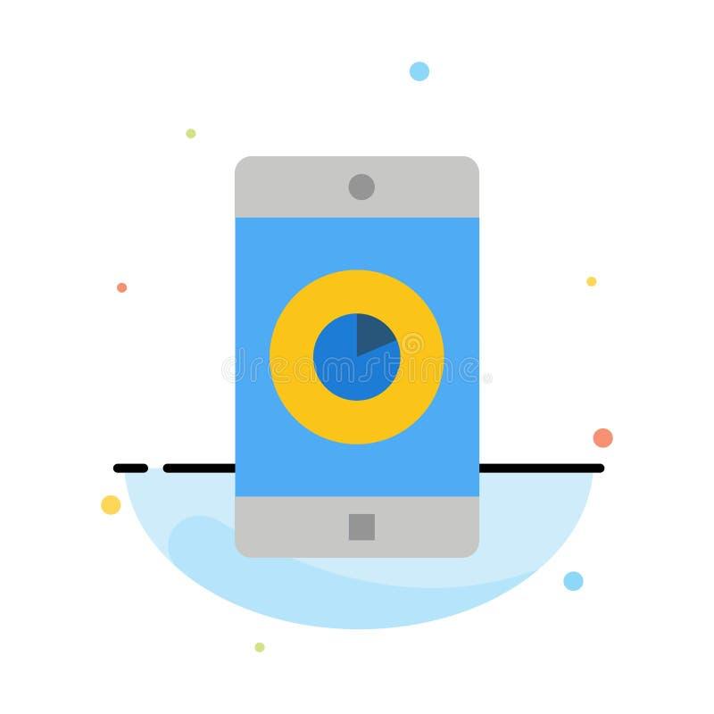 Anwendung, Mobile, bewegliche Anwendung, Zeit-Zusammenfassungs-flache Farbikonen-Schablone stock abbildung
