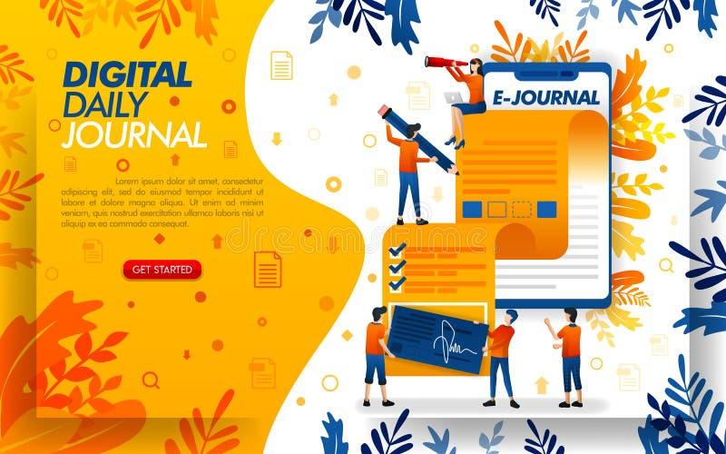 Anwendung schreibt eine Zeitschrift für Journalismus, schreibt eine Zeitschrift oder einen Artikel mit smartfone, Konzeptvektor i vektor abbildung