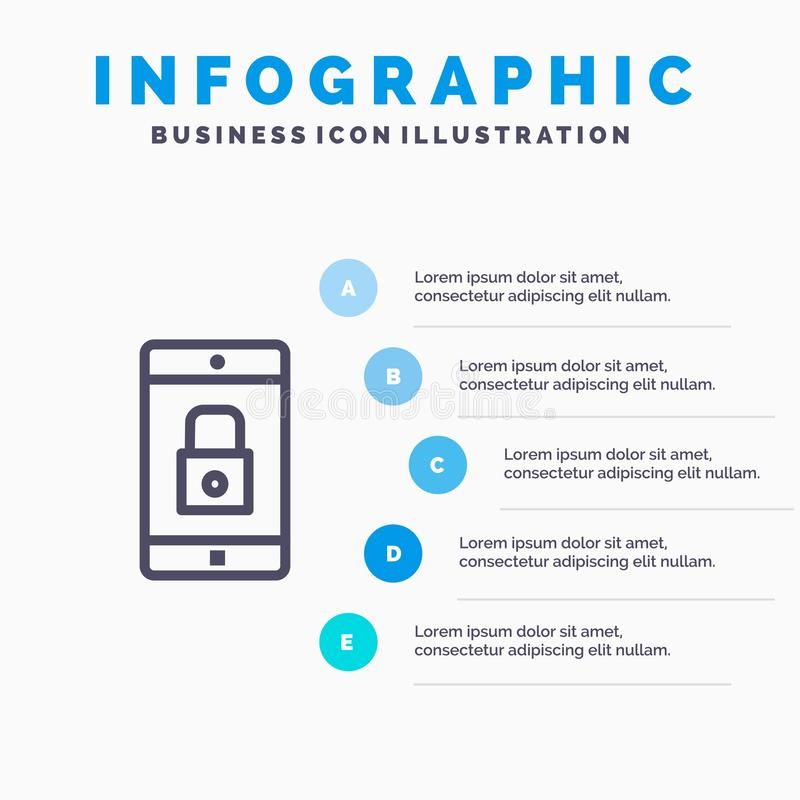 Anwendung, Verschluss, Verschluss-Anwendung, Mobile, bewegliche Anwendungs-Linie Ikone mit Hintergrund infographics Darstellung m stock abbildung