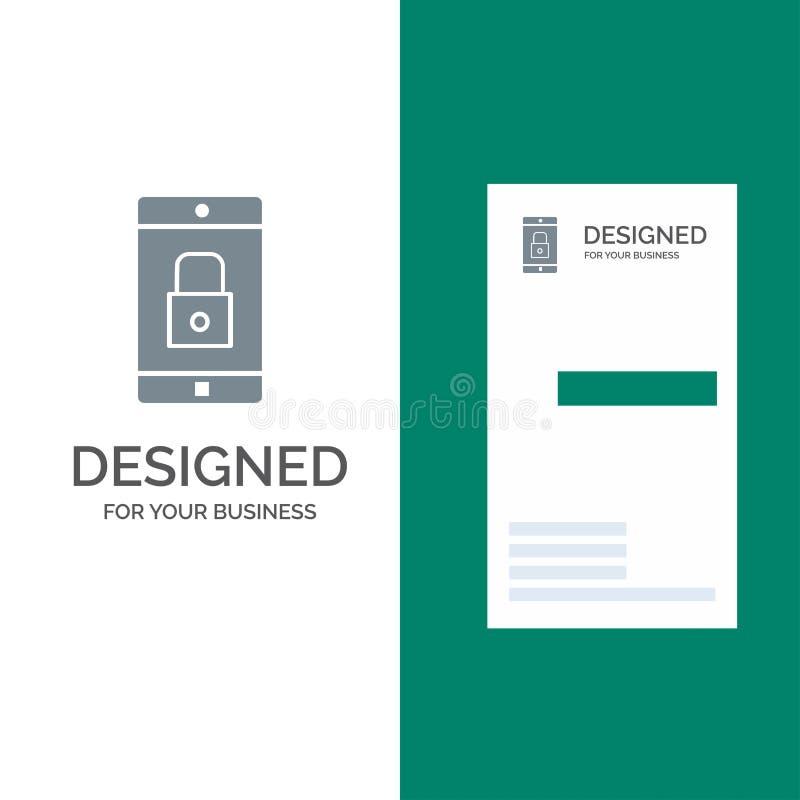 Anwendung, Verschluss, Verschluss-Anwendung, Mobile, bewegliche Anwendung Grey Logo Design und Visitenkarte-Schablone lizenzfreie abbildung