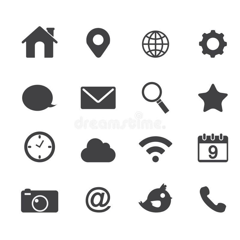 Anwendungs-Netz Ikonen des Vektors grundlegende stock abbildung