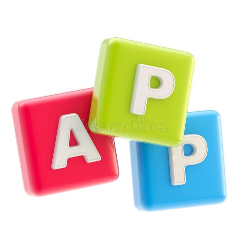 Anwendungsemblem als Würfel-APP-Symbol lizenzfreie abbildung