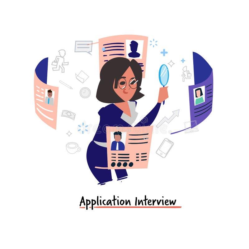 Anwendungsinterviewkonzept Mädchen der menschlichen Ressource, das Leute zum Job durch Zusammenfassung - Vektor vorwählt lizenzfreie abbildung