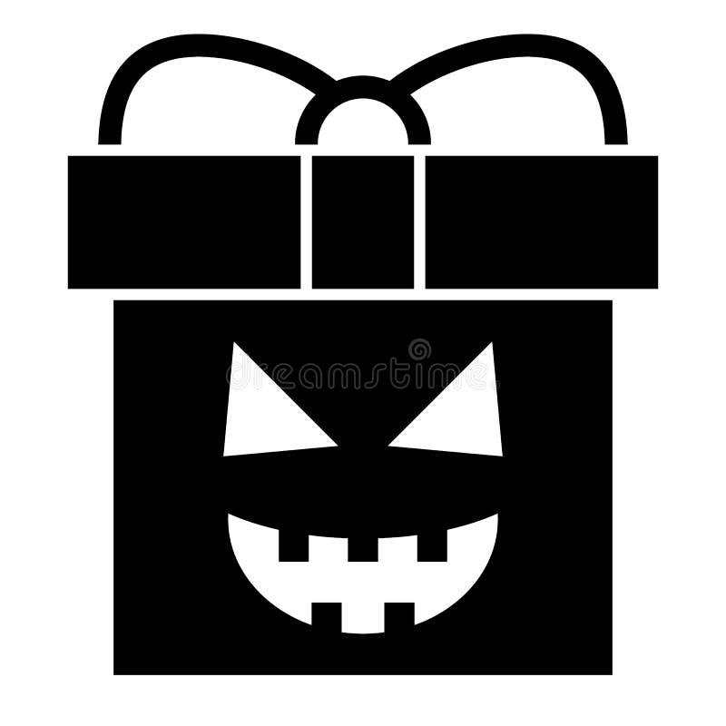 Anwesende feste Ikone Halloweens Geschenkbox mit der K?rbisgesichtsnetz-Vektorillustration lokalisiert auf Wei? Paket Glyphart stock abbildung