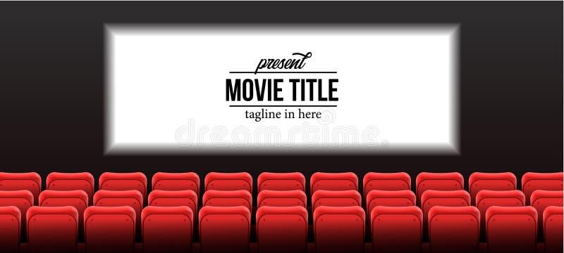 Anwesende Shownamenschablone mit roten leeren Sitzen am Kinokino mit Schirm stockbild