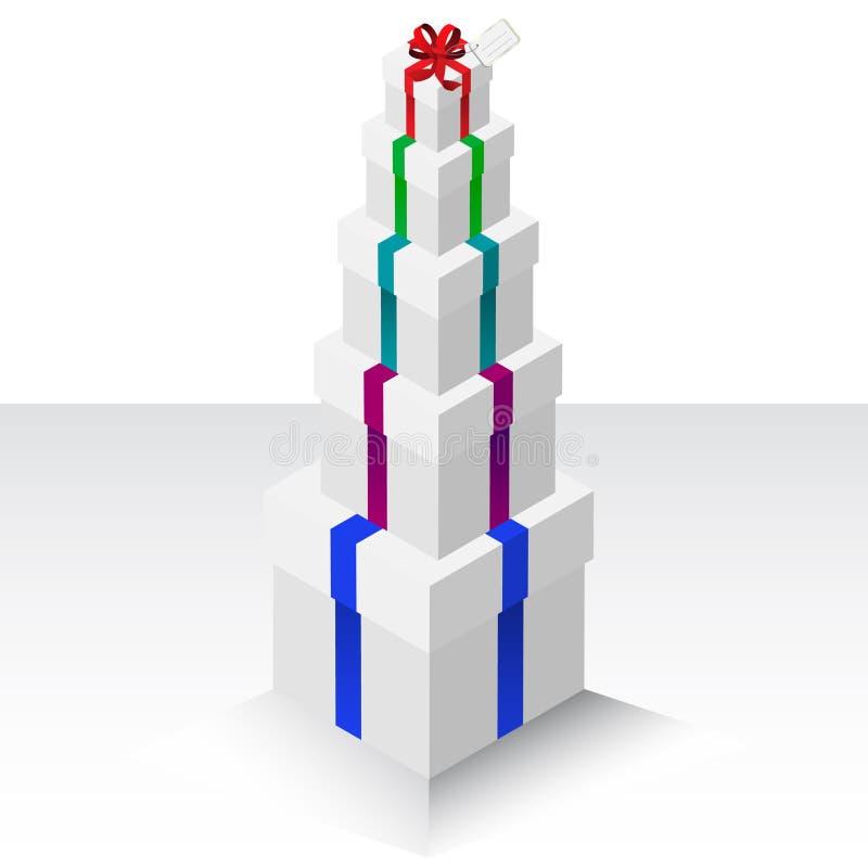 Anwesender Geschenkstapel mit Bogen stock abbildung