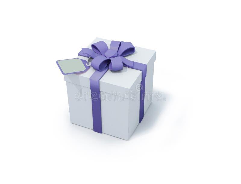 Anwesender Kasten des Weiß mit blauem Farbband stock abbildung