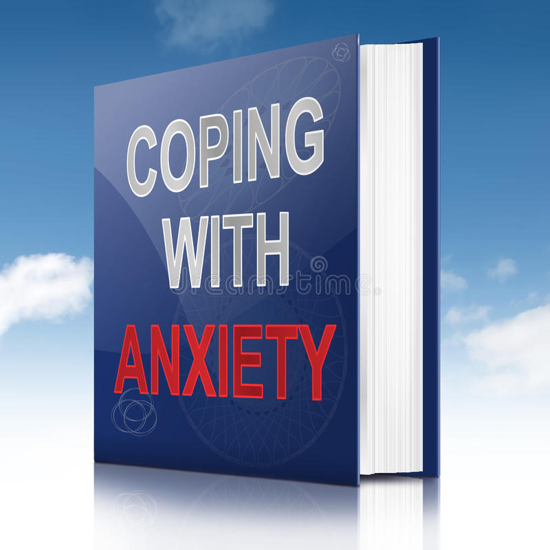 Anxiety advice concept. Illustration depicting a book with an anxiety concept title. Sky background stock illustration