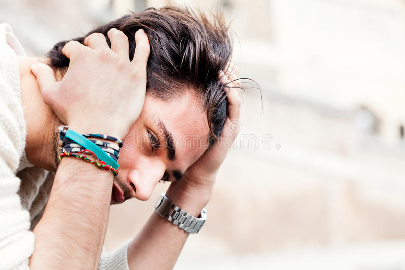 Anxiety concept. Young man with problems, despair stock photography
