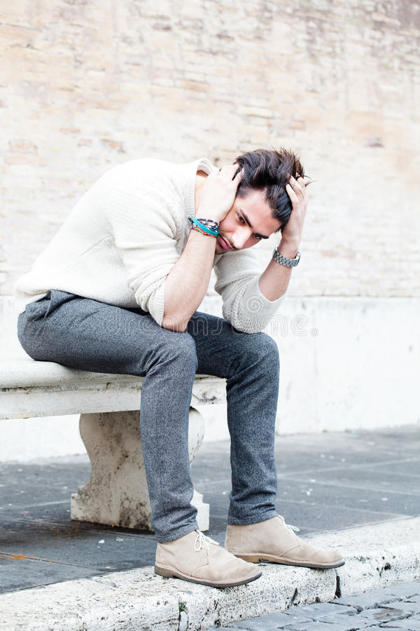Anxiety concept. Young man with problems, despair royalty free stock image