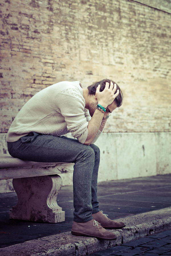 Anxiety concept. Young man with problems, despair stock photos