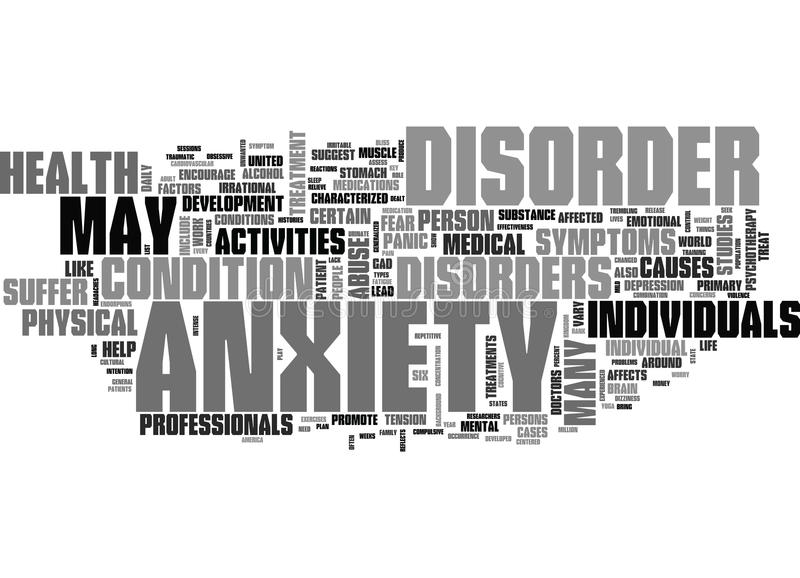 Anxiety Cure Word Cloud stock illustration