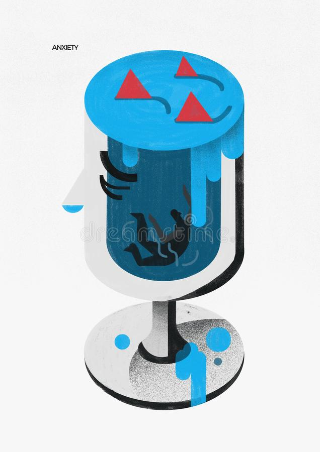 Anxiety disorder. cup of overflowing emotions. Illustration. stock images