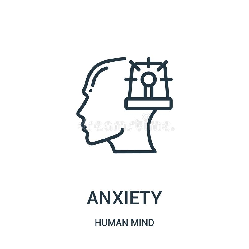 anxiety icon vector from human mind collection. Thin line anxiety outline icon vector illustration. Linear symbol for use on web royalty free illustration