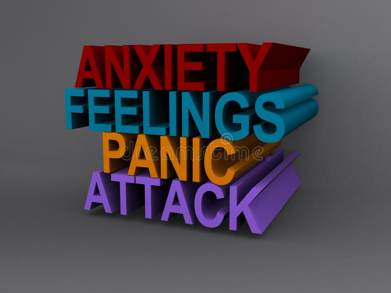 Anxiety and panic attack. 3d illustration of anxiety, feelings and panic attack sign vector illustration