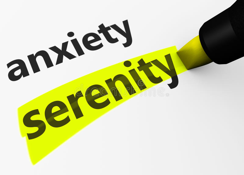 Anxiety Vs Serenity Sign. Medical and healthcare concept with a 3d render of anxiety text versus serenity word highlighted with a yellow marker stock illustration