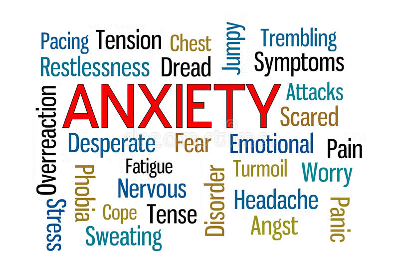 Anxiety. Word cloud on white background vector illustration