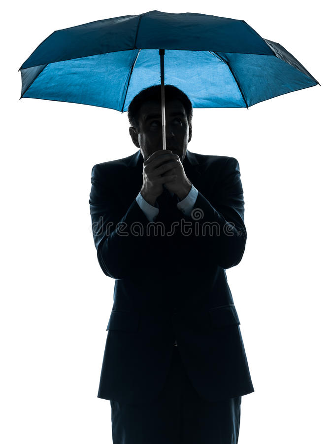 Download Anxious Business Man Under Umbrella Silhouette Stock Image - Image: 29014885