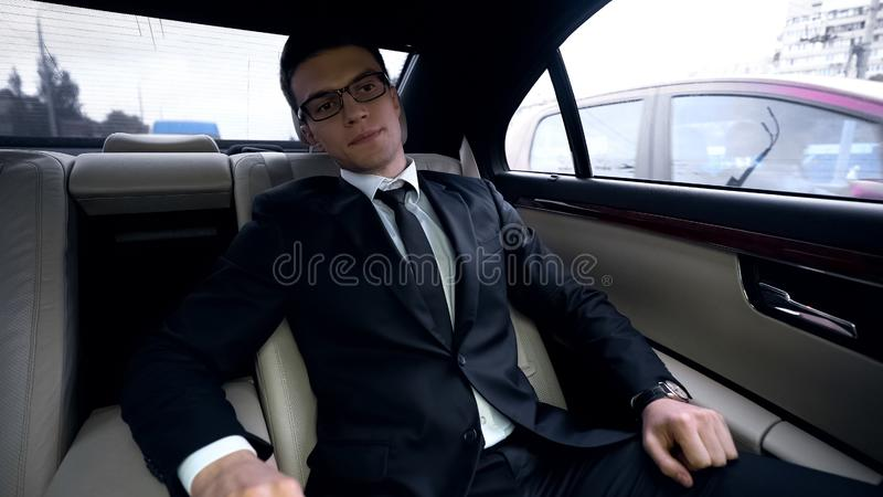Anxious businessman missing meeting, time management, traffic jam in megalopolis. Stock photo royalty free stock image