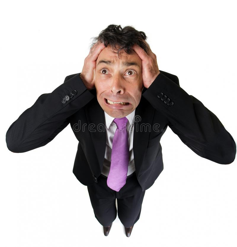 Anxious businessman tearing at his. High angle full length portrait of an expressive anxious businessman tearing at his hair isolated on white royalty free stock images