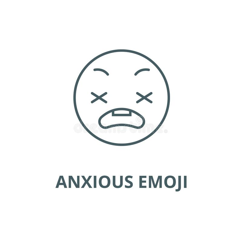 Anxious emoji line icon, vector. Anxious emoji outline sign, concept symbol, flat illustration. Anxious emoji line icon, vector. Anxious emoji outline sign royalty free illustration
