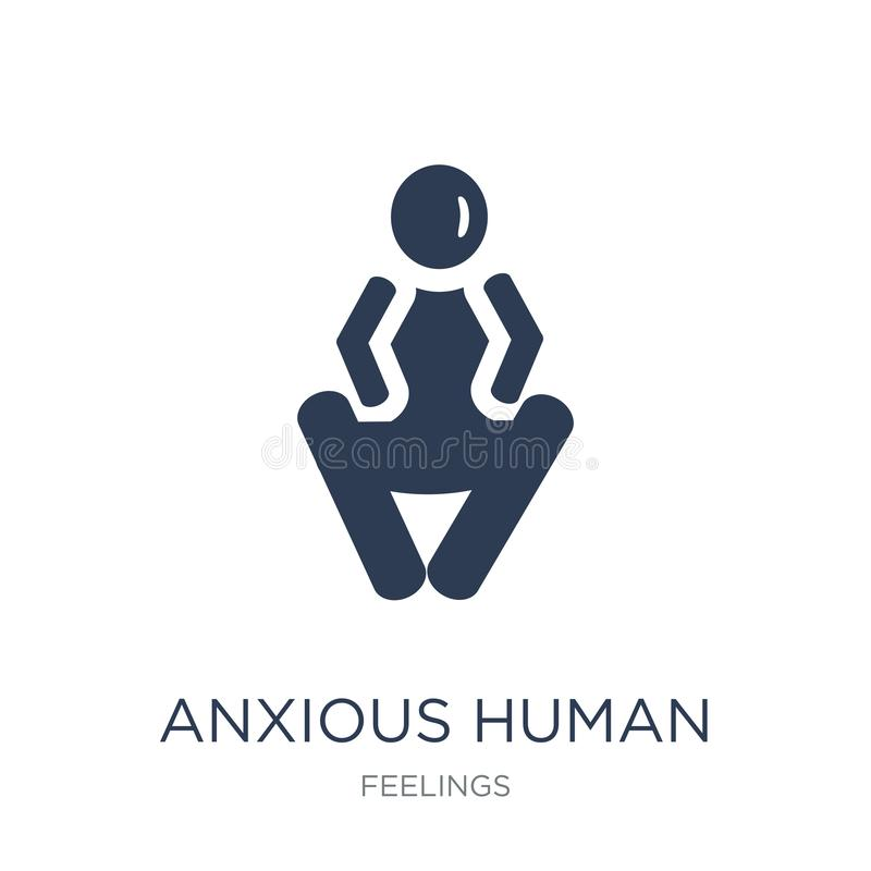 Anxious human icon. Trendy flat vector anxious human icon on white background from Feelings collection. Vector illustration can be use for web and mobile stock illustration